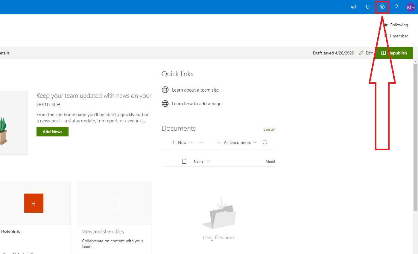 Deleting a SharePoint Site Step 1